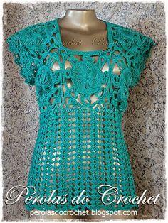 * Pérolas do Crochet: Blusa Mix Crochet de grampo e crochet tradicional
