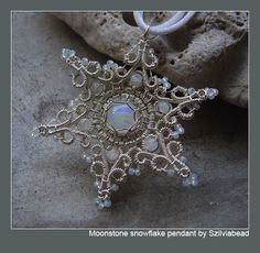 Moonstone Snowflake Wire Wrapped Pendant