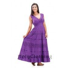 Daisy Crochet Lace Peasant Boho Cotton Tiered Maxi Sun Dress