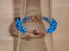 Chainmaille bracelet bright turquoise anodized aluminium with copper focal and clasp by violetsparks, £12.00