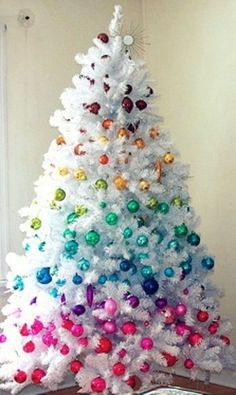 colorful, white christmas tree