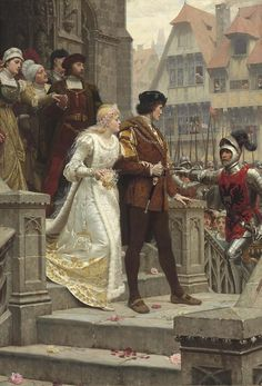 Edmund Blair Leighton, To Arms! 'Sweet bridal hymn, that issuing through the porch is rudely challenged with the cry 'to arms''
