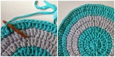 my world of wool: tutorial how to make a carpet with t-shirt yarn ( 3 )