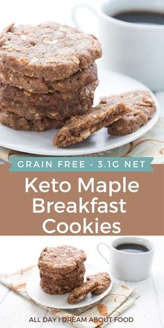 These easy keto breakfast cookies are simple to make and taste like maple oatmeal. A delicious way to start your day off right. Low Carb Sweets, Low Carb Desserts, Healthy Desserts, Low Carb Recipes, Keto Cookies, Healthy Cookies, Cookie Recipes, Dessert Recipes, Oatmeal Breakfast Cookies