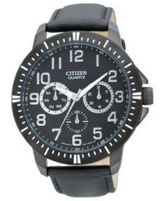 Citizen Men's Quartz Black Leather Strap Watch 42mm AG8315-04E