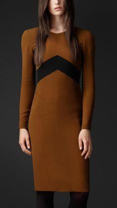 Burberry Prorsum Chevron Detail Crêpe Dress in Brown (bright toffee)