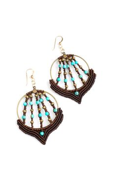 earrings- Tribal-handmade macrame-boho- elegant- Ethnic- Turquoise and brass Little Blue lights earrings