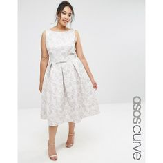 ASOS CURVE WEDDING Jacquard Prom Midi Dress ($125) ❤ liked on Polyvore featuring dresses, multi, plus size, fit and flare prom dresses, tall dresses, plus size fit and flare dress, low back prom dresses and fit-and-flare midi dresses