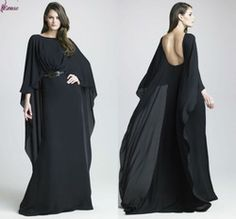 Elie Saab Black Chiffon with Long Sleeve Evening Maxi Dress