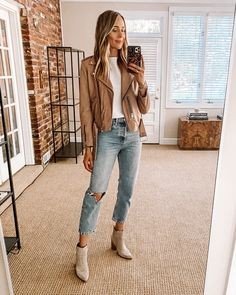 Fashion Jackson Nordstrom Anniversary Sale ALLSAINTS blush leather Jacket White Tshirt White Ripped Jeans Booties