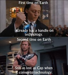 TomHiddleston and ChrisHemsworth | Loki, Thor, and Earth's technology (TheAvengers, 2012)