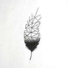 Geometric feather design tattoo