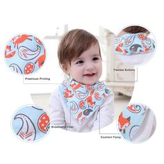 Baby Bandana Drool Bibs Unisex 4-Pack Gift Set for Drooling and teething; Baby shower gift