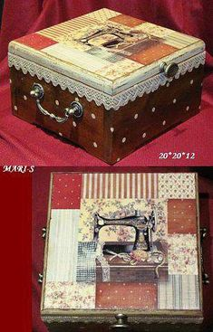 Фотография Decoupage Vintage, Cigar Boxes, Altered Boxes, Ideas Para, Mandala, Decorative Boxes, Scrapbook, Quilts, Fabric