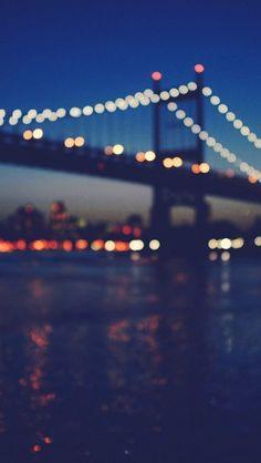New York City Manhattan Bridge Night Light Bokeh - theiphonewalls.com
