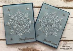DIY Elegant Snowflake Christmas Card featuring the Stampin Up Winter Wonder Embossing Folder and the Star of Light stamp set