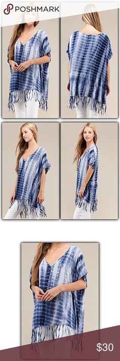 """✂️PRICECUT✂️Tie Dye Fringe Tunic Poncho SMLXL2X Be cozy & casual this season in this gorgeous tie dye tunic top with fringe hem. Lightweight with dolman sleeves for an easy, breezy, relaxed/slouchy fit. So versatile & can be worn as a swim cover up or poncho...super fun! Runs big.   S/M will fit large Bust 60"""" Length to end of fringe 34""""  M/L will fit XL XXL Bust 62"""" Length to end of fringe 35"""" Tops Tunics"""