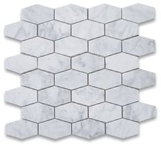 Carrara White Elongated Hexagon Mosaic Tile Honed - Marble from Italy Glass Subway Tile Backsplash, Beadboard Backsplash, Herringbone Backsplash, Granite Backsplash, Mirror Backsplash, Backsplash Ideas, Rustic Backsplash, Backsplash Design, Wood Countertops