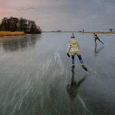 Skate on a frozen lake in the Netherlands Winter Trees, Plein Air, Figure Skating, Skating Rink, The Great Outdoors, Winter Wonderland, Netherlands, Skiing, In This Moment