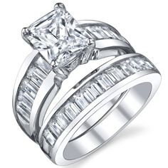 Sterling Silver 3 Carat Radiant Cut Cubic Engagement Ring Wedding Bridal Set Rings With CZ Sizes 4 to 11