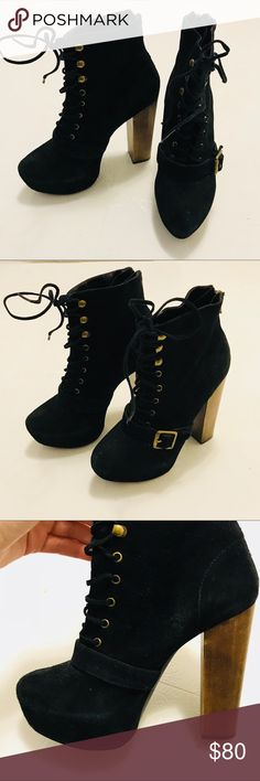 Steve Madden Lace Up Heel Booties Super chic black suede Steve Madden lace up booties with chunky heel and side buckle. Only worn a couple of times, but black suede is a little faded in some areas as seen in photos. Tall heel but platform makes them very comfortable. Easy to get into with laces and zippers on the back. One of the laces is opening but can be sewn or glued back no problem. Steve Madden Shoes Heeled Boots
