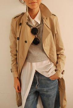 camel beige trench coat, white oxford shirt, grey sweater, blue boyfriend jeans