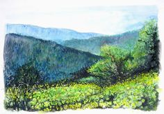 Jerusalem Mountains in spring  Watercolor by Menahem Lavee