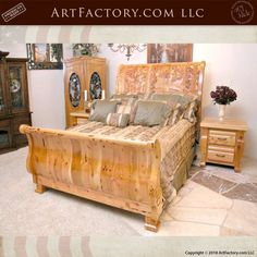 Crafted From All Natural, Solid Exotic Wood, With A Multi Process, Hand Rubbed Fine Art Quality Finish, And Master Hand Carvings Available In Any Size, And As A Complete Matching Bedroom Set With Armoire, Dresser, End Tables, And More Art Furniture, Custom Furniture, Armoire Dresser, Sleigh Beds, Quality Furniture, End Tables, Home Projects, Hand Carved, Exotic