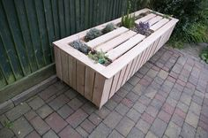 Larch scented planter storage bench