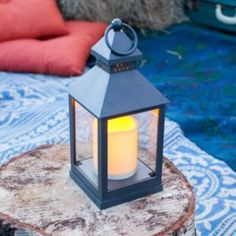 Buy Charcoal Grey Battery Outdoor LED Candle Lantern From Our Outdoor  Lanterns Range   Tesco