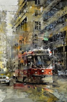 A familiar site throughout the city Toronto Streetcar by Mark Lague, Oil on Panel, Painting Koyman Galleries - featuring Canadian artists City Landscape, Urban Landscape, Landscape Paintings, Watercolor Paintings, Urban Painting, City Painting, Wall Art Canada, Abstract City, Art Graphique