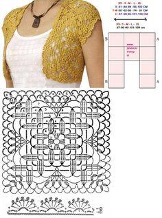 Bolero is very easy to crochet '- simple crochet bolero ~ Knitting NEEDLE CRAFTS Granny Square Crochet Pattern, Crochet Chart, Crochet Granny, Crochet Motif, Diy Crochet, Crochet Patterns, Crochet Diagram, Crochet Bolero Pattern, Crochet Top