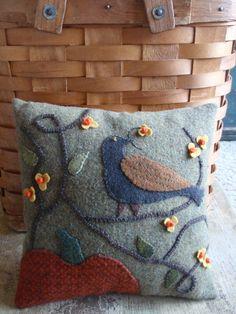 Bird and pumpkin fall felt pillow
