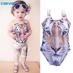 Baby Girls 3D Swimsuit Tiger Design One piece Girls Swimwear 1-6Yrs Infant Toddler Girls Swimming Suit Beach Swimwear Bathsuit