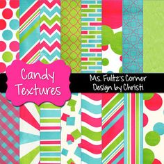 This paper pack features bright pink, blue, and green colors in fun patteat will be perfect for your teaching products, classroom creations, and personal blog design.  Colors: green, pink, blue with a slight textured/worn look  Patterns: Polka Dots, Spirals, Chevrons, Plaid, Waves, Stripes,