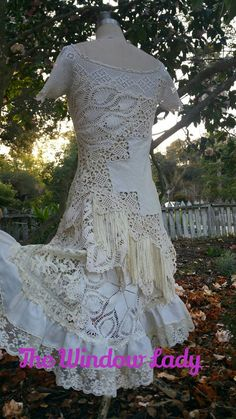 The window lady upcycled crochet flapper recycled sustainable boho bridal wedding gown dress ooak pixie gypsy witchy vintage handmade Crochet Clothes, Diy Clothes, Doily Wedding, White Lace Skirt, Wedding Dress Patterns, Long Tunic Tops, Lace Outfit, Mori Girl, Clothing Patterns