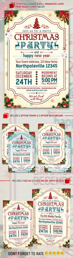 Christmas Party Flyer & Invitation — Photoshop PSD #christmas ball #celebration • Available here → https://graphicriver.net/item/christmas-party-flyer-invitation/9538914?ref=pxcr