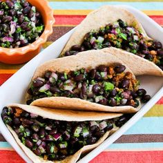 I love these Ground Turkey Green Chile Soft Tacos with Black Bean Cilantro Salsa.  I use low-carb flour tortillas to make this a healthy and diet-friendly meal.   [from KalynsKitchen.com]