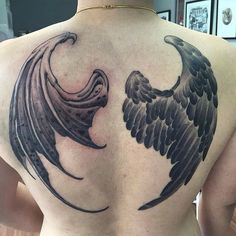 Angel demon wings done by @tattoos_by_simon13 #iwasborneoinked #borneoink…