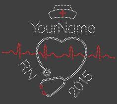nurse heart stethoscope EKG custom name and by SarahLouBoutique