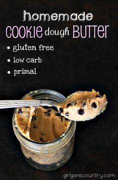 Homemade Cookie Dough Butter & sweetener of your choice (gluten free, low carb, primal) - See more at…
