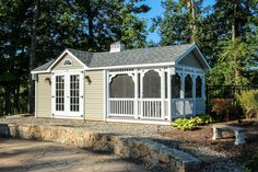 Styles: Governor's Series: Cottage, Pool House, Grand Pool House: The Barn Yard & Great Country Garages Small Prefab Cottages, Small Cottage Homes, Cottage House, Farm House, Prefab Cabin Kits, Prefab Cabins, Small Pool Houses, Christmas Decorations For The Home, House Decorations