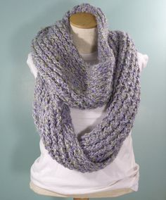 Knit Cowl Extra Large Lavender Cowl Large Knit by JandSKnitts