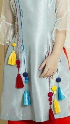 Kurti Sleeves Design, Kurta Neck Design, Sleeves Designs For Dresses, Dress Neck Designs, Stylish Dress Designs, Embroidery On Kurtis, Hand Embroidery Dress, Kurti Embroidery Design, Embroidery Fashion