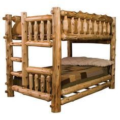 Fireside Lodge Traditional Cedar Log Bunk Bed with Built-In Ladder