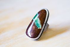Australian Chrysoprase Ring in Sterling Silver Cocktail Ring, Chrysoprase in Matrix Ring - Mystery of Grace