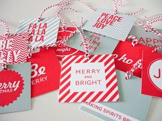 Modern Christmas Square Gift Tags 12 pack, via Etsy.