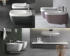 Serie Abito (#Hatria): #wc e #bidet cambiano colore ogni volta che vuoi.  #bathroom #design #toilet #interiors