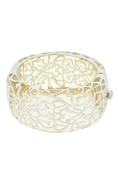Andrew Hamilton Crawford Damask Cuff In Clear & Silver