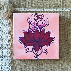Buddhist Lotus Painting on Canvas 6 x 6 by DesignsbySimona on Etsy